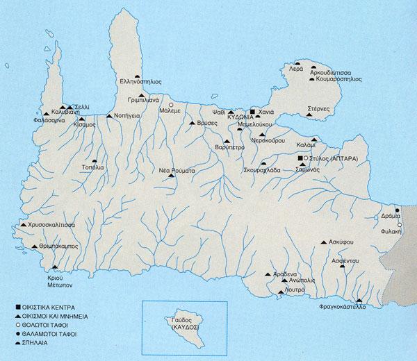 Χάρτης του νομού Χανίων με τις προϊστορικές θέσεις