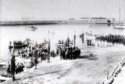 Η άφιξη του Αρμοστή Κρήτης Αλ. Ζαίμη στο λιμάνι το Σεπττέμβριο του 1906.