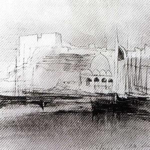 Απεικόνιση από το λιμάνι του Καστελιού με το βυζαντινό τείχος και το Κονάκι το 1864.